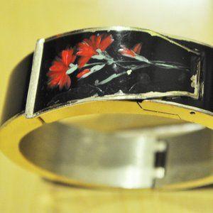 Vintage Jewelry - VTG Hidden Secret SWISS Watch Handpainted Bracelet
